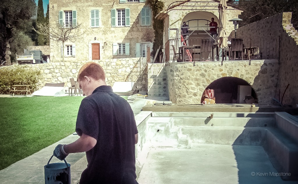 Tom working on a large project in Grasse, South of France | hand painted kitchen